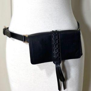 Tahari Black faux leather belt bag magnetic snap